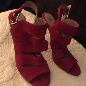 Isola Red Suede Heel with Back Buckle  size 9